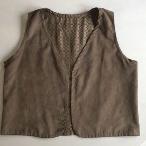 Reversible micro suede/faux suede Coach vest